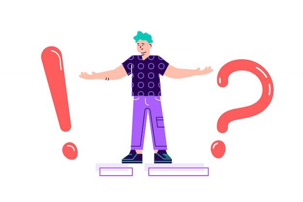 Ilustracja, ilustracja koncepcja często zadawanych wykrzykników i znaków zapytania, metafora odpowiedź na pytanie. ilustracja nowoczesny projekt płaski na białym tle