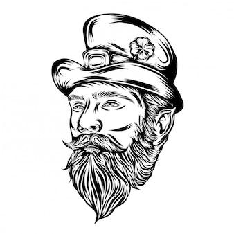 Ilustracja ilustracja maskotki głowy świętego patryka