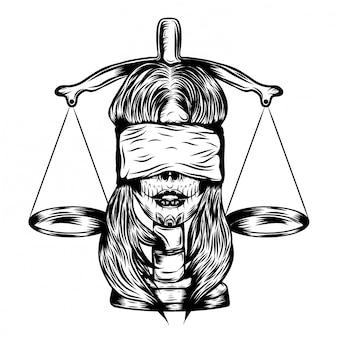 Ilustracja ilustracja niewidomych kobiet z prawem sprawiedliwości