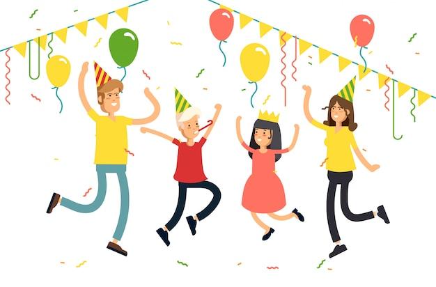 Ilustracja impreza rodzinna na białym tle. zabawna postać dzieci z rodzicami skoki z czapeczek, konfetti, balonów. świętujemy imprezę.