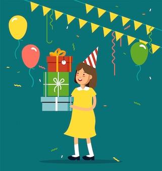 Ilustracja imprezy dla dzieci. postać zabawna dziewczyna z party hat trzymania tack pudełka, konfetti, balony. wszystkiego najlepszego z okazji urodzin.