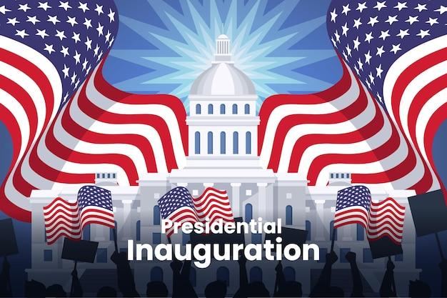 Ilustracja inauguracji prezydenckiej usa z białym domem i flagami