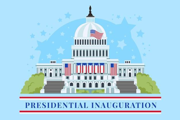 Ilustracja inauguracji prezydenckiej z białym domem i amerykańskimi flagami w usa