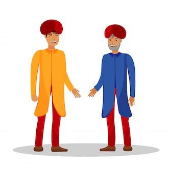 Ilustracja indian płaska kolor rozmowy ludzi