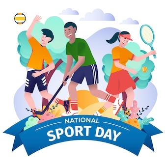 Ilustracja indonezyjskiego narodowego dnia sportu