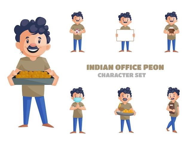 Ilustracja indyjskiego zestawu znaków biurowych peon
