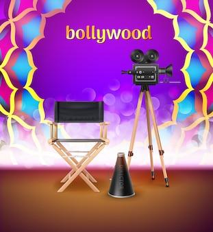 Ilustracja indyjskiego znaku logo bollywood w kolorowym ornamentem mandali