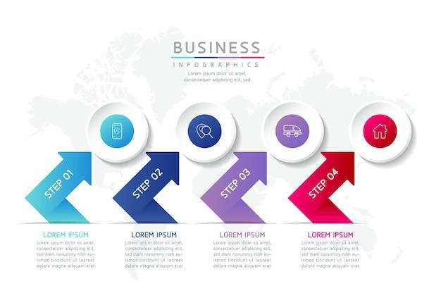 Ilustracja infografika szablon projektu informacje marketingowe z 4 opcjami lub krokami