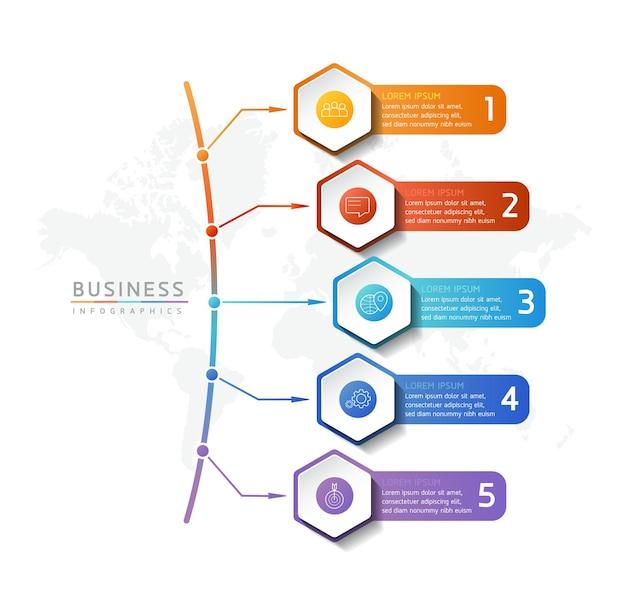 Ilustracja infografika szablon projektu informacje marketingowe z 5 opcjami lub krokami