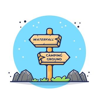 Ilustracja informacji znak deski. znak, strzała, drewno, przewodnik. płaski styl kreskówki