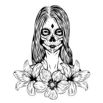 Ilustracja inspiracja dnia martwej sztuki twarzy z kwiatem