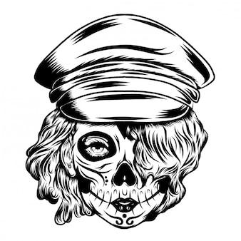 Ilustracja inspiracja dzień zmarłego kapitana z przerażającą sztuką twarzy