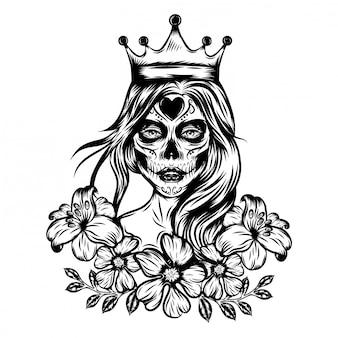 Ilustracja inspiracja ilustracji królowej sztuki twarzy z koroną i kwiatem vintage
