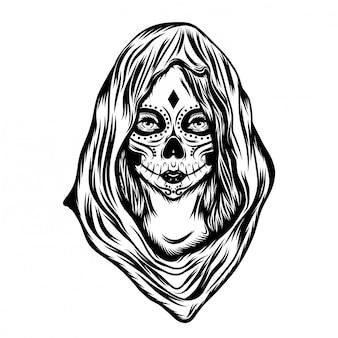 Ilustracja inspiracja kobiet ze sztuką twarzy i dużym kapturem