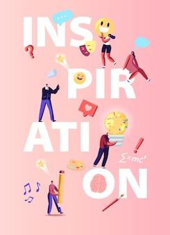 Ilustracja inspiracji. postacie przezwyciężają kryzys twórczy, pracę zespołową i szukają nowego pomysłu