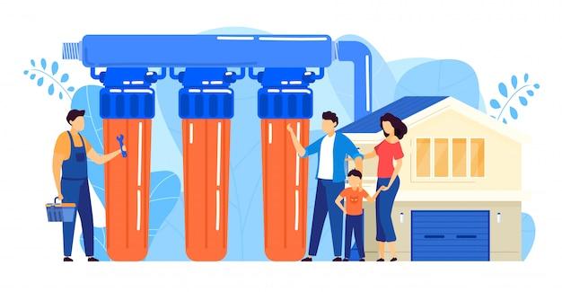 Ilustracja instalacji filtra wody, kreskówka malutki repairman pracownika postać instalująca system filtracji odwróconej osmozy
