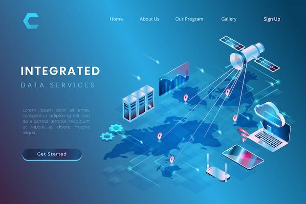 Ilustracja integracji usług danych z wykorzystaniem systemów satelitarnych i chmurowych w izometrycznym stylu 3d
