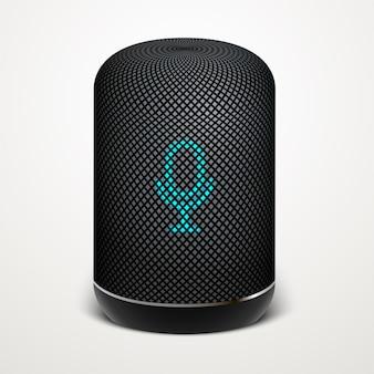 Ilustracja inteligentnego głośnika. wyszukiwanie głosowe, technologia wyszukiwania.