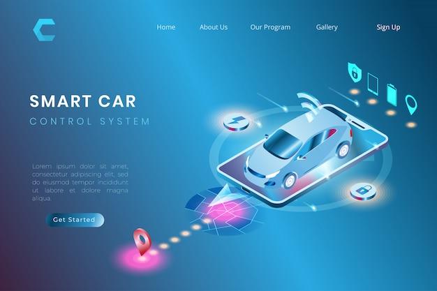 Ilustracja inteligentnego samochodu z autonomicznym systemem automatyki, sterowanie systemem iot w nieco 3d stylu