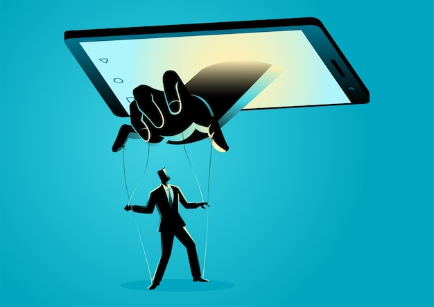 Ilustracja inteligentny telefon kontrolujący człowieka. media społecznościowe, gadżet, koncepcja zależności technologii