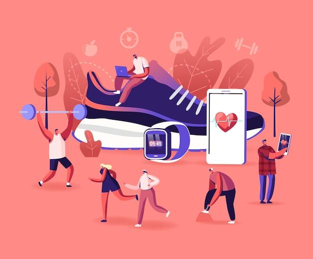 Ilustracja inteligentnych butów. drobne postacie sportowcy i sportsmenki trenujący na siłowni i na świeżym powietrzu w sportowych tenisówkach podłączonych do smartfona