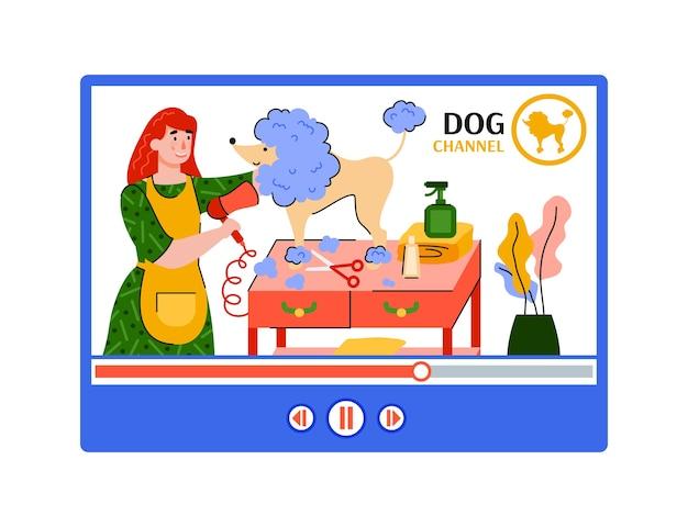 Ilustracja internetowego kanału pielęgnacji zwierząt domowych