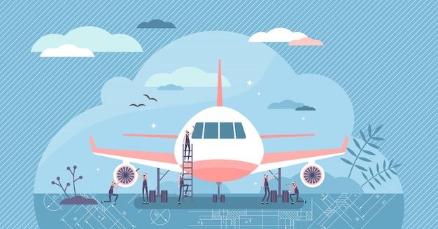 Ilustracja inżynier lotnictwa. utrzymanie koncepcji małych osób