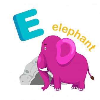 Ilustracja izolowane alfabet litera e słoń