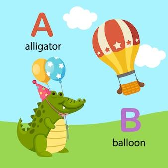 Ilustracja izolowane litera alfabetu aligator, b-balon