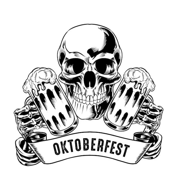 Ilustracja izolowanej czaszki trzymającej piwo na logo i element brandingowy