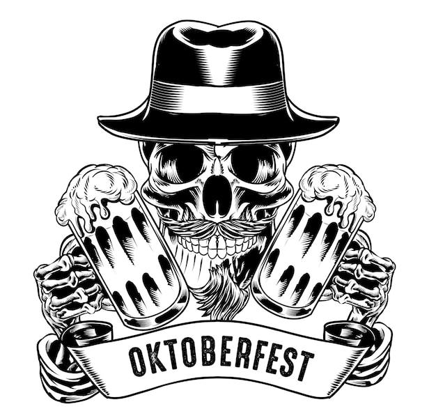 Ilustracja izolowanej czaszki z kapeluszem trzymającym piwo na logo i element brandingowy