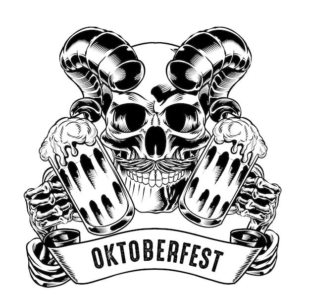 Ilustracja izolowanej czaszki z rogiem trzymającym piwo na logo i element brandingowy