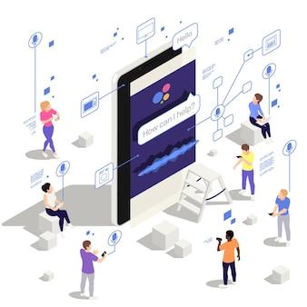 Ilustracja izometryczna aplikacji do komunikacji z asystentem głosowym na tablecie smartfona