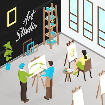 Ilustracja izometryczna art studio