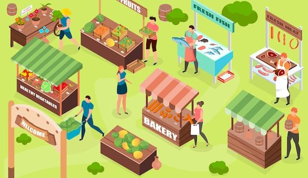 Ilustracja izometryczna bazaru