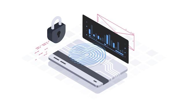 Ilustracja izometryczna bezpieczeństwa danych mobilnych