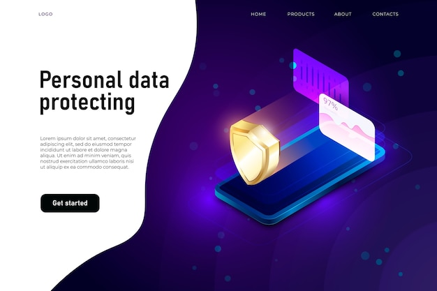 Ilustracja izometryczna bezpieczeństwa danych osobowych