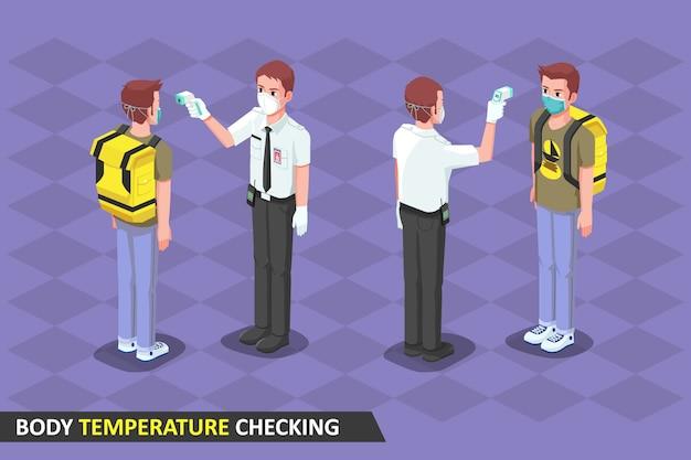 Ilustracja izometryczna, bezpieczeństwo sprawdzające temperaturę ciała za pomocą termogunu