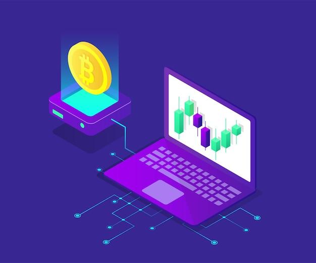 Ilustracja izometryczna bitcoin