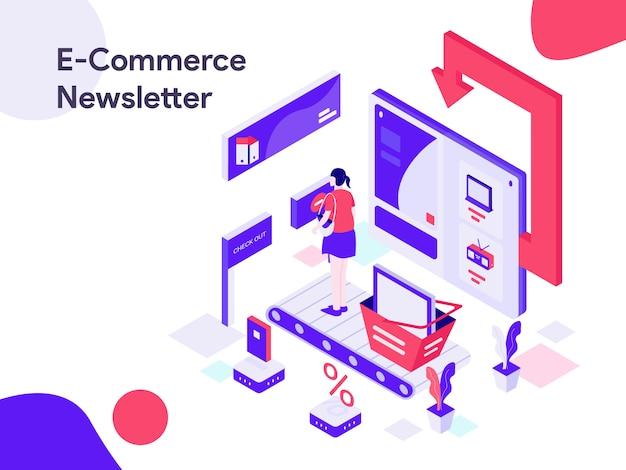 Ilustracja izometryczna biuletynu e-commerce