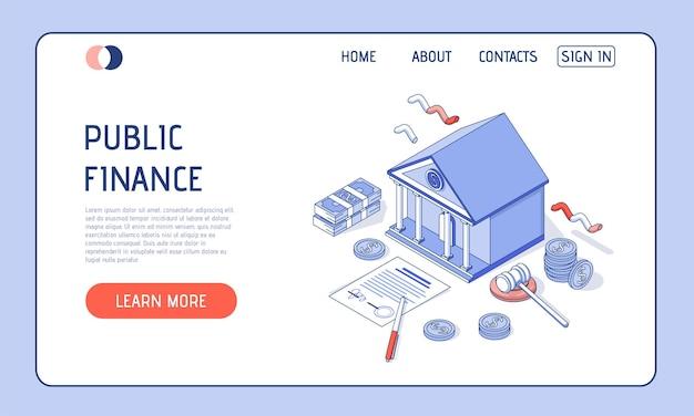 Ilustracja izometryczna. budynek banku na białym tle z pieniędzmi, dokumentami finansowymi i monetami.