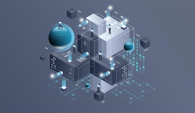 Ilustracja izometryczna centrum danych.