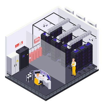 Ilustracja izometryczna centrum danych