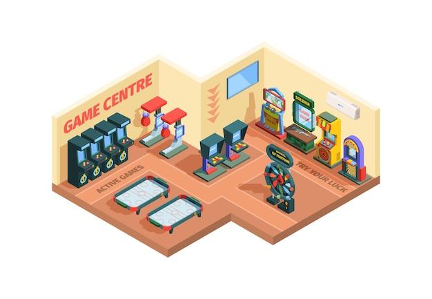 Ilustracja izometryczna centrum gier