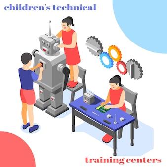 Ilustracja izometryczna centrum szkolenia technicznego dzieci