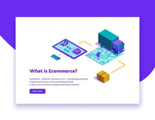 "Ilustracja izometryczna ""co to jest e-commerce"""