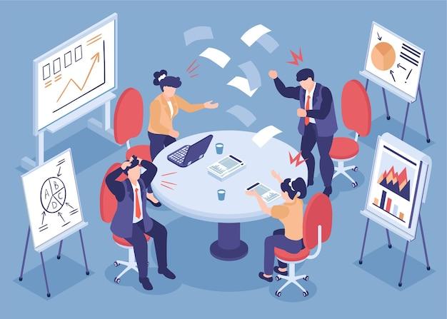 Ilustracja izometryczna codziennego stresu z emocjonalnymi pracownikami wyraźnie omawiającymi problemy biznesowe w biurze