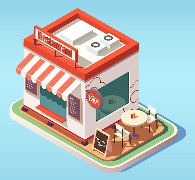 Ilustracja izometryczna cute mała kawiarnia lub restauracja z zewnętrznymi stołami