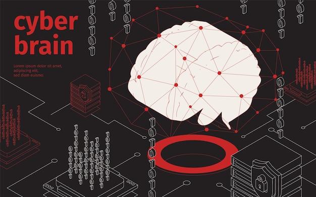 Ilustracja izometryczna cyber mózgu