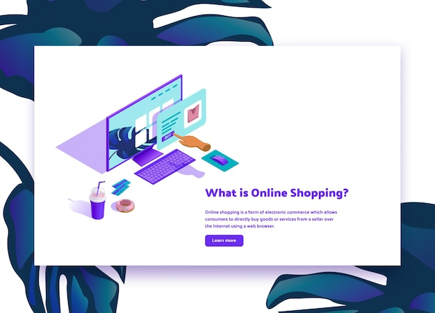 """Ilustracja izometryczna """"czym są zakupy online"""""""